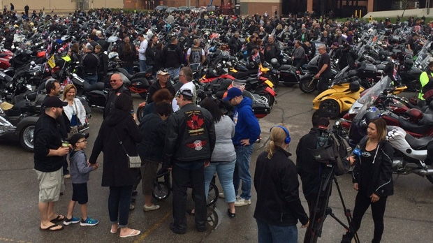 The annual Motorcycle Ride for Dad rolled out of the parking lot at Earl's Restaurant at Polo Park at 10 a.m. on Saturday.