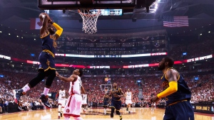 Cleveland Cavaliers forward LeBron James (23) dunks the ball past Toronto Raptors guard DeMar DeRozan (10) during first half Eastern Conference final NBA playoff basketball action in Toronto on Friday, May 27, 2016 (Nathan Denette / THE CANADIAN PRESS)