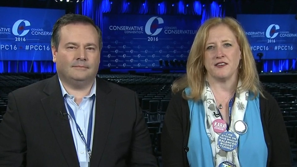 Conservative MPs Jason Kenney (left) and Lisa Raitt speak on CTV's Question Period.