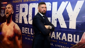 Tony Bellew of Britain poses for photographers during a press conference before his fight against Ilunga Makabu at Goodison Park, Liverpool, England, on Tuesday May 3, 2016. (Martin Rickett / PA via AP)