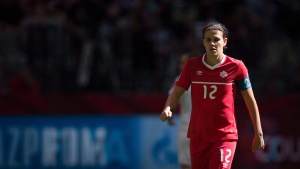 Canada's Christine Sinclair looks on during first half of the FIFA Women's World Cup round of 16 soccer action in Vancouver on June 21, 2015. (THE CANADIAN PRESS/Darryl Dyck)