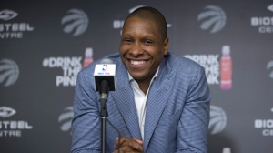 Toronto Raptors' General Manager Masai Ujiri attends a season-end news conference in Toronto on Monday May 30, 2016. THE CANADIAN PRESS/Chris Young