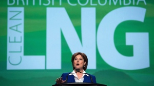 British Columbia Premier Christy Clark addresses the LNG in BC Conference in Vancouver on October 14, 2015. THE CANADIAN PRESS/Darryl Dyck