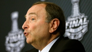NHL Commissioner Gary Bettman speaks to the media before Game 1 of the Stanley Cup final series between the San Jose Sharks and the Pittsburgh Penguins Monday, May 30, 2016, in Pittsburgh. (AP Photo / Gene J. Puskar)