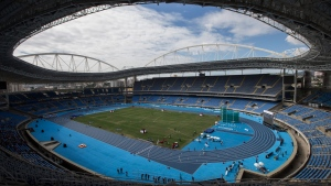 The Rio Olympic Stadium during the Men's 3000m steeplechase final Athletics test event in Rio de Janeiro, Brazil, May 14, 2016. (AP Photo/Felipe Dana/File)
