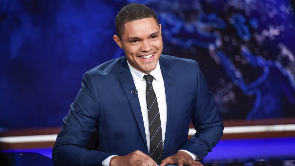 "In this Sept. 29, 2015 file photo, Trevor Noah appears on set during a taping of ""The Daily Show with Trevor Noah"" in New York.  (Photo by Evan Agostini/Invision/AP, File)"