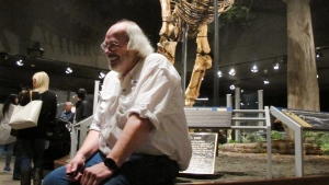Jack Horner smiles as he sits under Montana's T Rex in the Museum of the Rockies in Bozeman, Mont. on May 21, 2016. (AP Photo/Matt Volz)