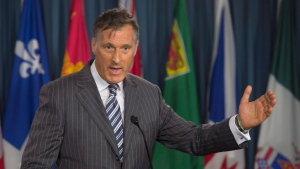 Conservative leadership candidate Maxime Bernier speaks during a new conference on supply management in Ottawa, on Tuesday, May 31, 2016. (THE CANADIAN PRESS/Adrian Wyld)