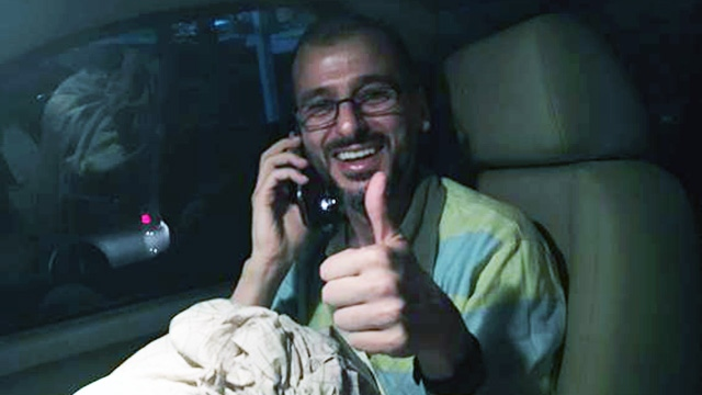 """Salim Alaradi gives a """"thumbs up"""" after his release from prison in the United Arab Emirates, on Tuesday, May 31, 2016. (Marwa Alaradi)"""