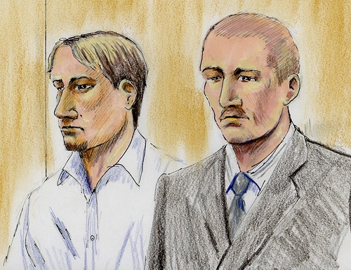 Dennis Cheeseman and Shawn Hennessey are seen in this artist's rendition during court proceedings in Edmonton, Monday, Jan. 19, 2009.