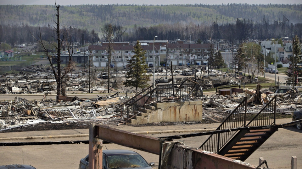 The devastated neighbourhood of Abasand is shown in Fort McMurray, Alta., on May 13, 2016. (Jason Franson / THE CANADIAN PRESS)