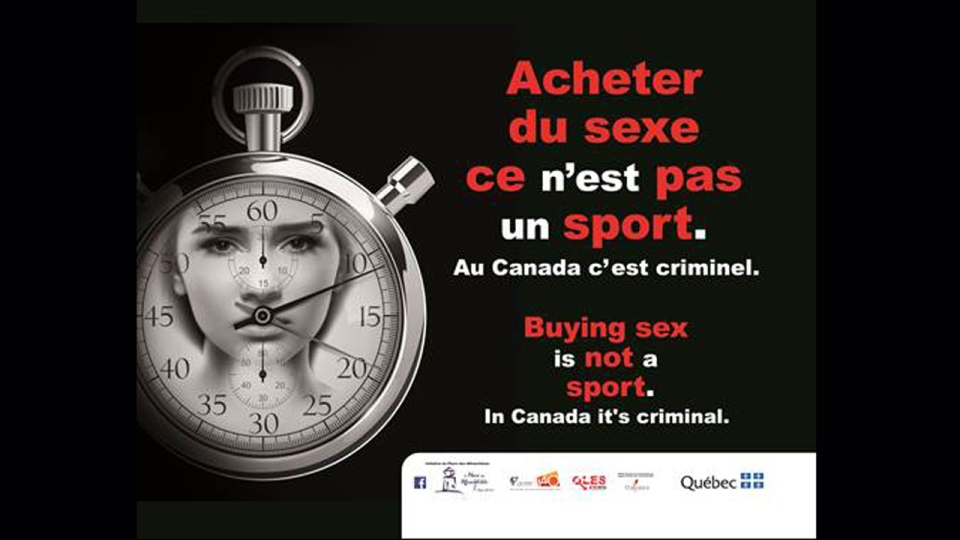 One of the ads that is being displayed to fight prostitution during the Grand Prix in Montreal