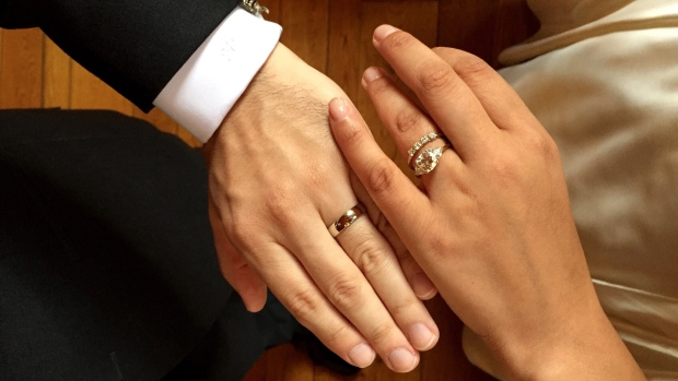 A photo provided by Amber Marlow shows the ringed hands of Marlow and her husband, Marley Jay, after their wedding, in Stone Ridge, N.Y. on Sept. 26, 2015. (Amber Marlow via AP)
