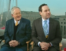 From left, Peter Fenn, Democratic strategist, and David Frum, former White House speech writer, speak on CTV's Canada AM from Washington, Monday, Jan. 19, 2009.