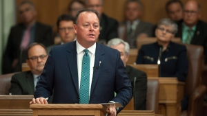 Saskatchewan Finance Minister Kevin Doherty delivers his budget speech during budget day at the Legislative Building in Regina on Wednesday June 1, 2016. THE CANADIAN PRESS/Michael Bell