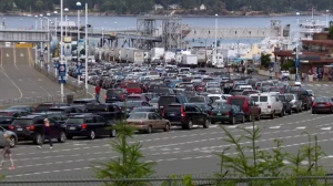 Weekend walk-on ridership fell by 65 per cent, while vehicle traffic decreased by 50 per cent, BC Ferries said Monday. (File photo)