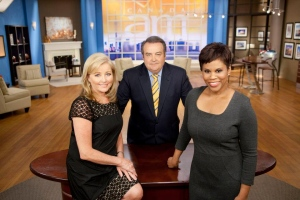 Canada AM co-hosts Bev Thomson, left, Jeff Hutcheson and Marci Ien are shown on the morning show set.