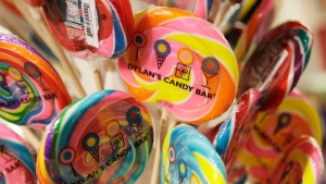 Lollipops from Dylan's Candy Bar are displayed at J.C. Penney, in New York on Oct. 27, 2011. (AP /Mark Lennihan)