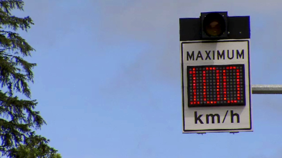 An electronic variable speed sign is shown on the Sea-to-Sky Highway, near Vancouver. Thursday, June 2, 2016. (CTV Vancouver)