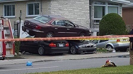 An 84-year-old man is in hospital after a spectacular car crash in Laval on Thursday. (Photo via Facebook)