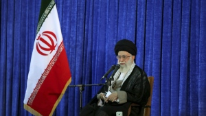 Supreme Leader Ayatollah Ali Khamenei delivers his speech in a ceremony marking 27th death anniversary of founder of the Islamic Republic, Ayatollah Khomeini at his shrine just outside Tehran, Iran on Friday, June 3, 2016. (Office of the Iranian Supreme Leader)