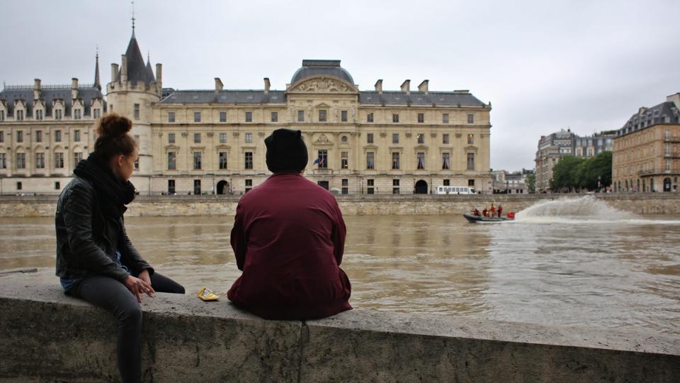 Seine river at the Conciergerie building in Paris