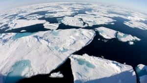 This July 10, 2008 file photo made with a fisheye lens shows ice floes in Baffin Bay above the Arctic Circle, seen from the Canadian Coast Guard icebreaker Louis S. St-Laurent. (AP Photo/The Canadian Press, Jonathan Hayward)
