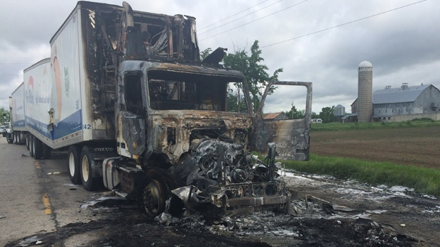 Transport truck destroyed by fire after a crash