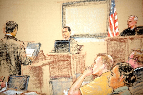 In this photo of a sketch by courtroom artist Janet Hamlin, reviewed by the U.S. Military, FBI agent Robert Fuller sits in the witness stand during a hearing at the U.S. Naval Base, in Guantanamo Bay, Cuba, ON Tuesday, Jan. 20, 2009. (AP / Janet Hamlin)
