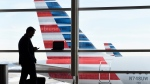 A passenger talks on the phone as American Airlines jets sit parked at their gates at Washington's Ronald Reagan National Airport on Jan. 25, 2016. (AP Photo/Susan Walsh, File)