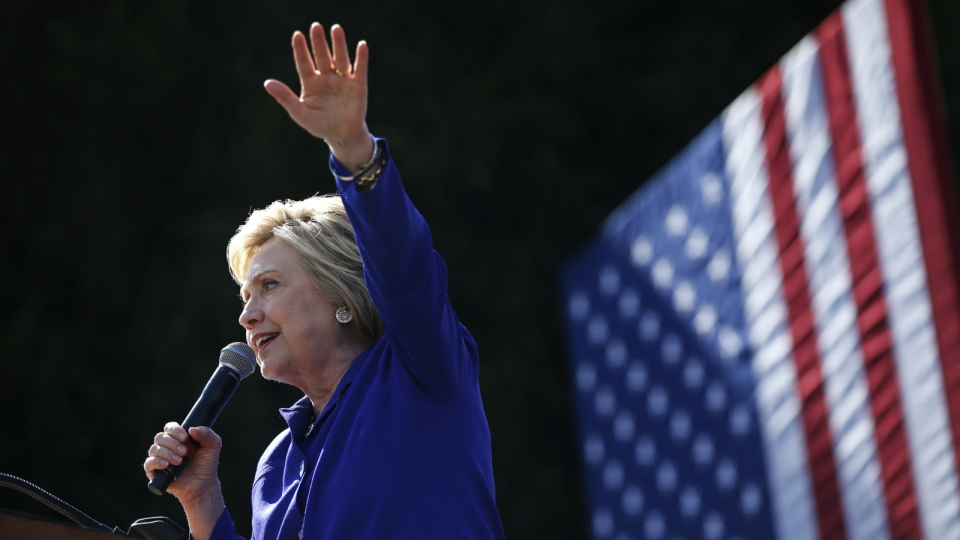 Democratic presidential candidate Hillary Clinton speaks at a rally in Los Angeles on Monday, June 6, 2016. (AP / John Locher)
