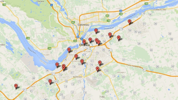 On the Map: Ottawa Shootings 2016