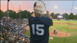 A Victoria HarbourCats fan cheers on the home team from the stands in Victoria. (CTV News)
