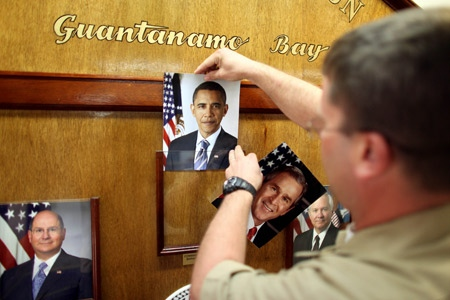 Inauguration day activity at Guantanomo Bay military base (AP Pool Photo)