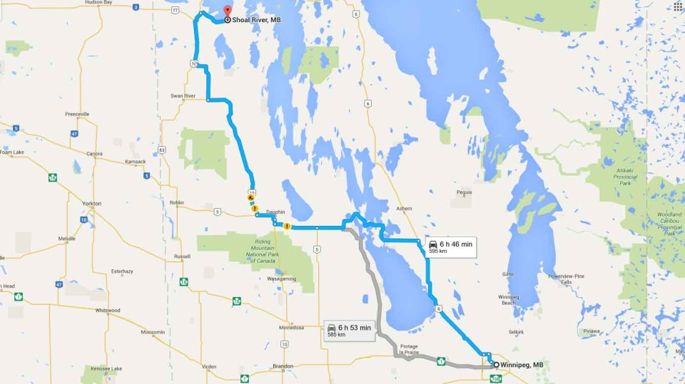 The Shoal River area is about 595 kilometres northwest of Winnipeg. (Source: Google Maps)