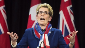 In this file photo, Ontario Premier Kathleen Wynne's speaks during a press conference in Toronto on Monday, April 11, 2016. (Nathan Denette/The Canadian Press)