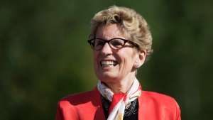 Ontario Premier Kathleen Wynne looks on at an announcement at Evergreen Brickworks in Toronto, Wednesday, June 8, 2016. (Mark Blinch / THE CANADIAN PRESS)