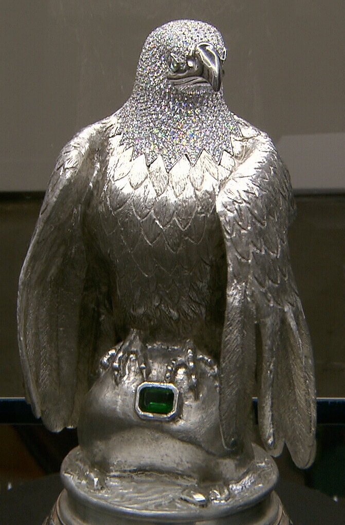 Ron Shore's silver eagle is seen on display at an art exhibit.