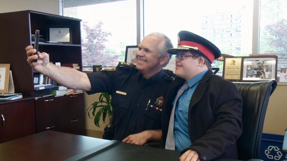 Jacob Demers-Barrett takes a selfie with Ottawa Police Chief Charles Bordeleau, June 9, 2016