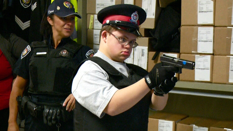 Jacob Demers-Barrett, 16, has wanted to be a cop since he was young.