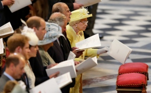 Britain's Queen Elizabeth II and Prince Philip attend a National Service of Thanksgiving to mark her 90th birthday at St Paul's Cathedral in London, Friday, June 10, 2016. (AP / Matt Dunham)