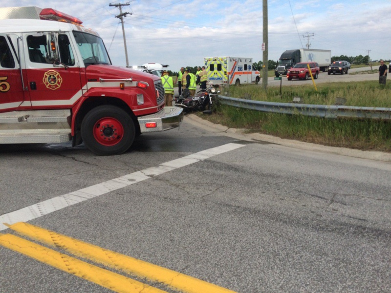 Emergency crews have responded to a crash on County Road 42 in Lakeshore, Ont., on Friday, June 10, 2016. (Peter Langille / AM800)