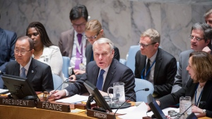In this photo provided by the United Nations, Jean-Marc Ayrault, center, Minister for Foreign Affairs and International Development of France, addresses the United Nations Security Council, Friday, June 10, 2016 at United Nations headquarters.  (Rick Bajornas/The United Nations via AP)