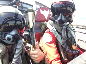 Heather Butts gives a thumbs up next to Cpt. Shamus Allen before takeoff at CFB Borden, Ont. on Friday, June 10, 2016. (Heather Butts/ CTV Barrie)