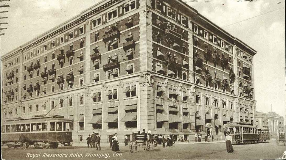 Pictured here is the Royal Alexander Hotel on Main Street in 1914. (Source: Heritage Winnipeg)
