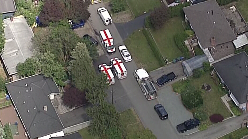 The victims were seen soaked in blood while leaving the Loughren Drive property in Surrey on June 6, 2016. (CTV/Chopper 9)