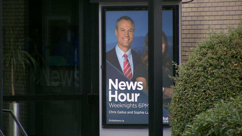 Chris Gailus is seen on a poster outside of Global BC's office on Friday, June 10, 2016.