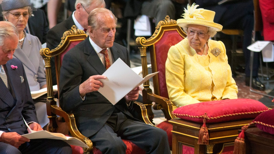 Britain's Queen Elizabeth II and Prince Philip attend a National Service of Thanksgiving to mark the 90th birthday of Britain's Queen Elizabeth II at St Paul's Cathedral in London, Friday, June 10, 2016. (Ian Vogler / Pool Photo via AP)