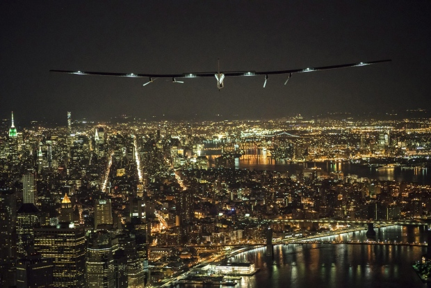 Fly By Night Solar Powered Plane Lands In New York City