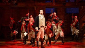 Lin-Manuel Miranda, centre, performs in the musical 'Hamilton' in New York. (The Public Theater, Joan Marcus / AP)